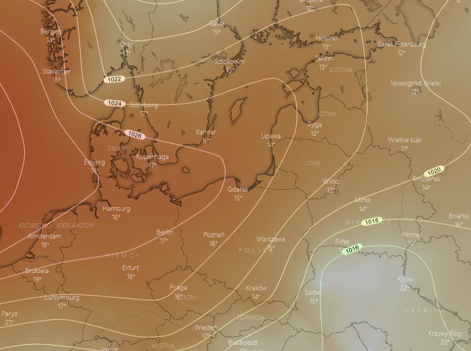 Pogoda. Spodziewany rozkład ciśnienia w nocy z wtorku na środę - odejście niżu nad Ukrainę