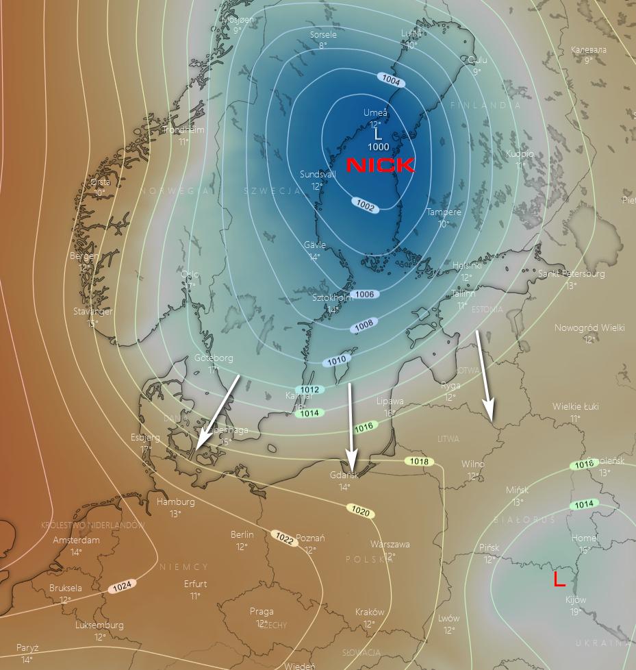 Pogoda. Spodziewany rozkład ciśnienia w nocy w środę - zbliżanie się głębokiego niżu znad Skandynawii