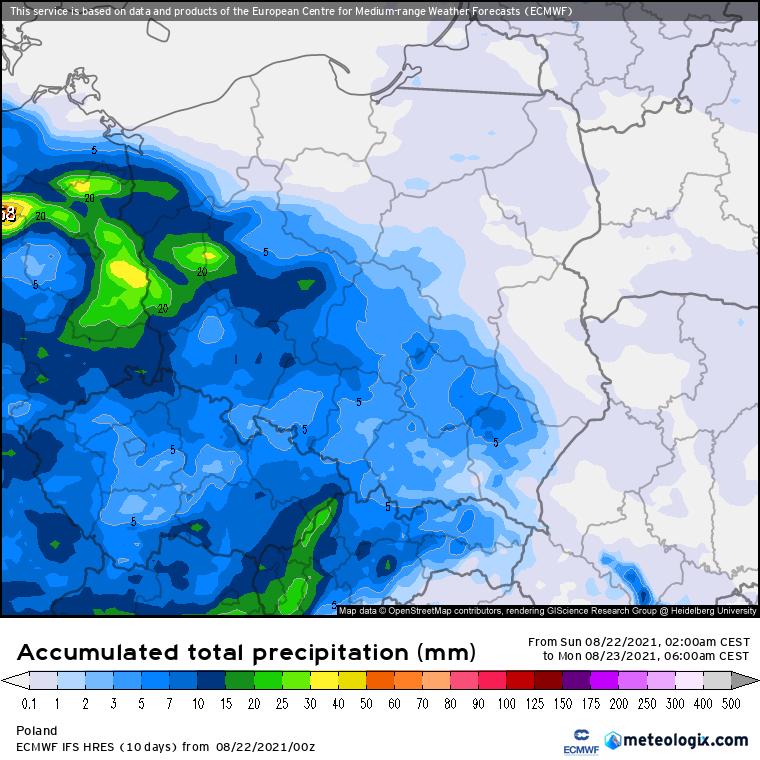 Pogoda. Suma opadów do poniedziałkowego poranku - ECMWF