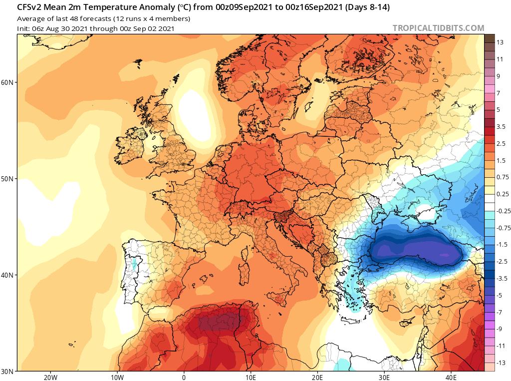 Prognozowana anomalia temperatury 2m dla Europy (okres 09.09 - 16.09
