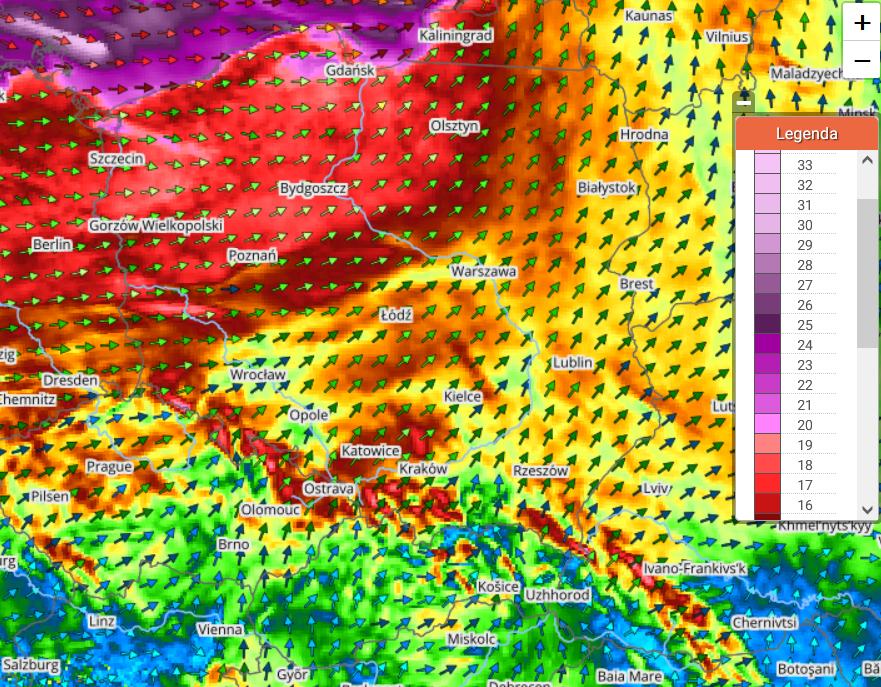Pogoda. Prognoza porywów wiatru wg modelu UMPL w czwartek na godzinę 19:00 (Objaśnienie skali> 17 m/s = 61 km/h, 20 m/s = 72 km/h, 25 m/s = 90 km/h, 30 m/s = 108 km/h)