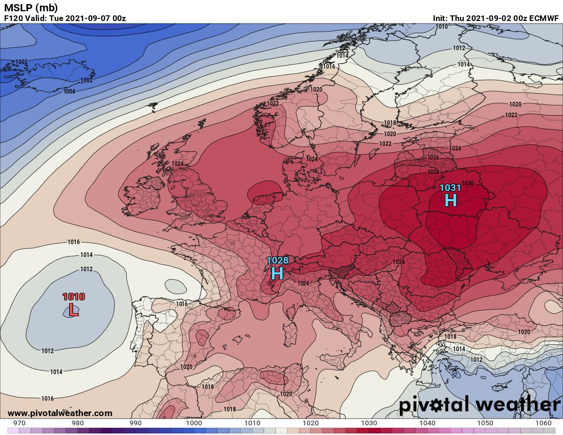 Prognozy długoterminowe.Spodziewana dominacja wyżu barycznego nad Europą - prognoza na przełomie pon/wt (06/07)