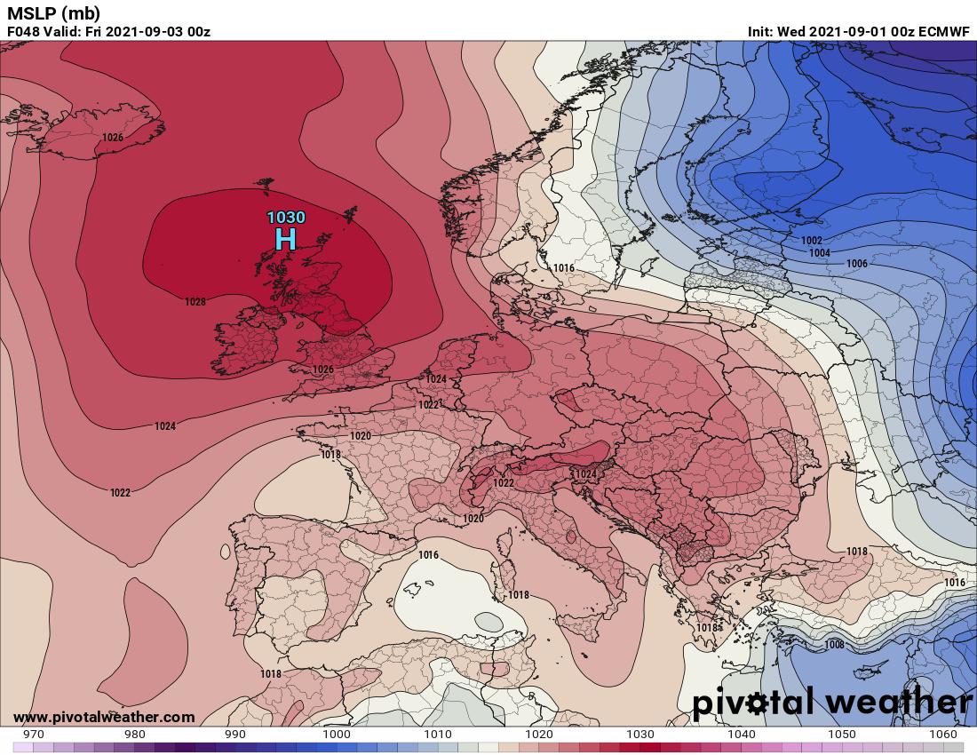 Pogoda.Spodziewany rozkład pola barycznego w nocy z czwartku na piątek - model ECMWF
