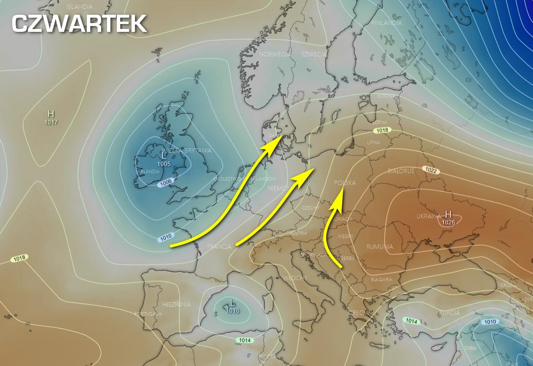 Pogoda. Spodziewana sytuacja synoptyczna nad Europą w czwartek