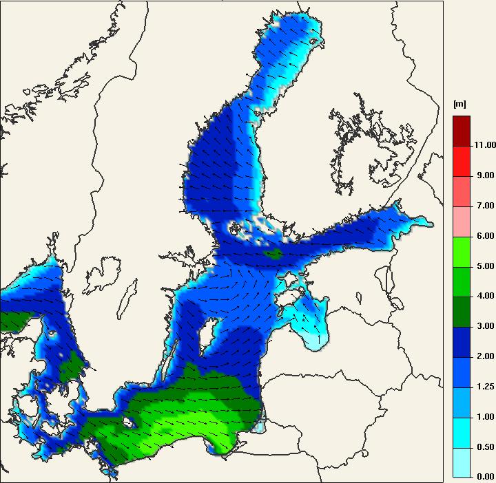 Pogoda. Prognoza wysokości fal na Morzu Bałtyckim wraz kierunkiem wzburzania - prognoza modelu UMPL na noc z czwartku na piątek (03:00 UTC). Wzdłuż wybrzeża możliwe fale o wysokości do 6 metrów