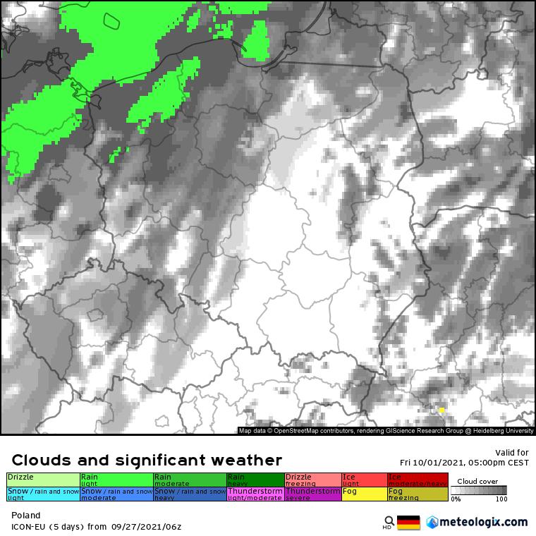 Pogoda. niewykluczone lokalne opady na północy w piątek