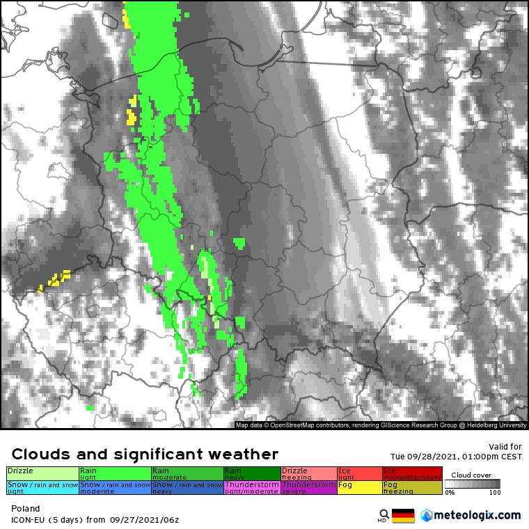 Pogoda. Prognoza możliwych opadów deszczu wzdłuż zachodniej połowy Polski - wtorek godz 13:00 (model ICON-EU)