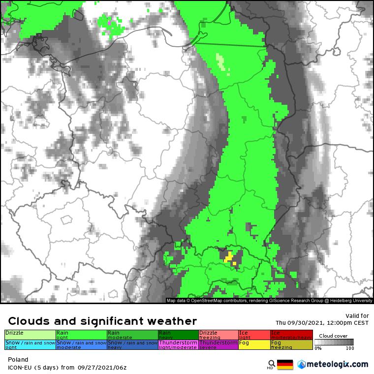 Pogoda. opady deszczu w czwartek na wschodzie Polski