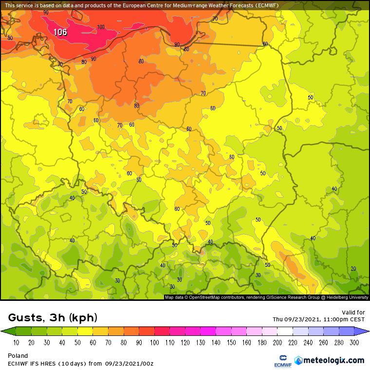 Wichura. Prognoza maksymalnych porywów wiatru w okresie 20:00 - 23:00. Wyliczenia modelu numerycznego ECMWF. Najsilniejszych porywów w zakresie 70-80 km/h należy spodziewać się na północy, północnym zachodzie i lokalnie północnym wschodzie