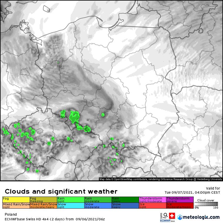 Pogoda. Prognoza zachmurzenia i opadów nad Polską we wtorek - model SwissHD
