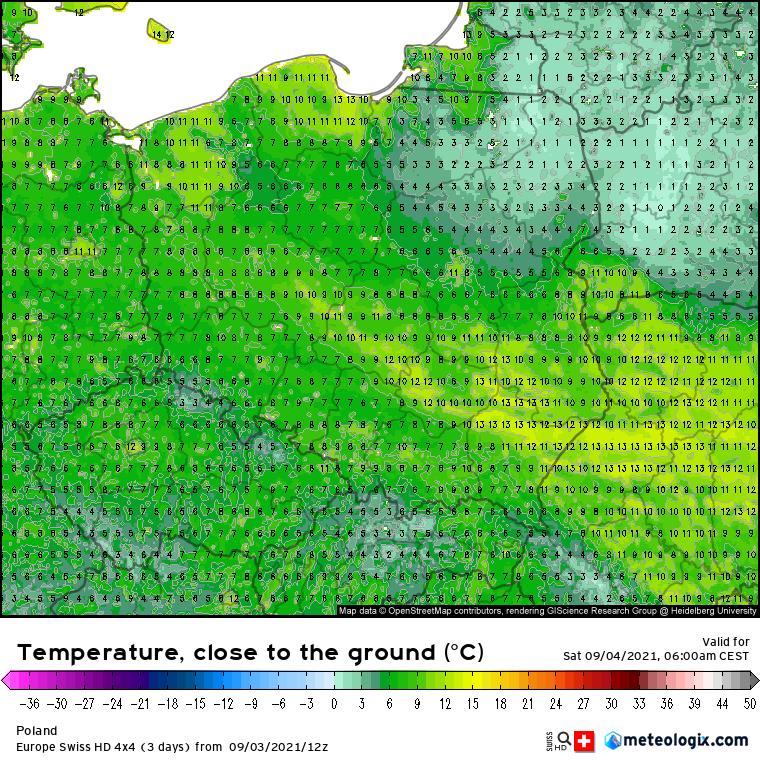 Pogoda. Prognoza temperatur powietrza na poziomie 5 cm nad poziomem gruntu - sobota 06:00