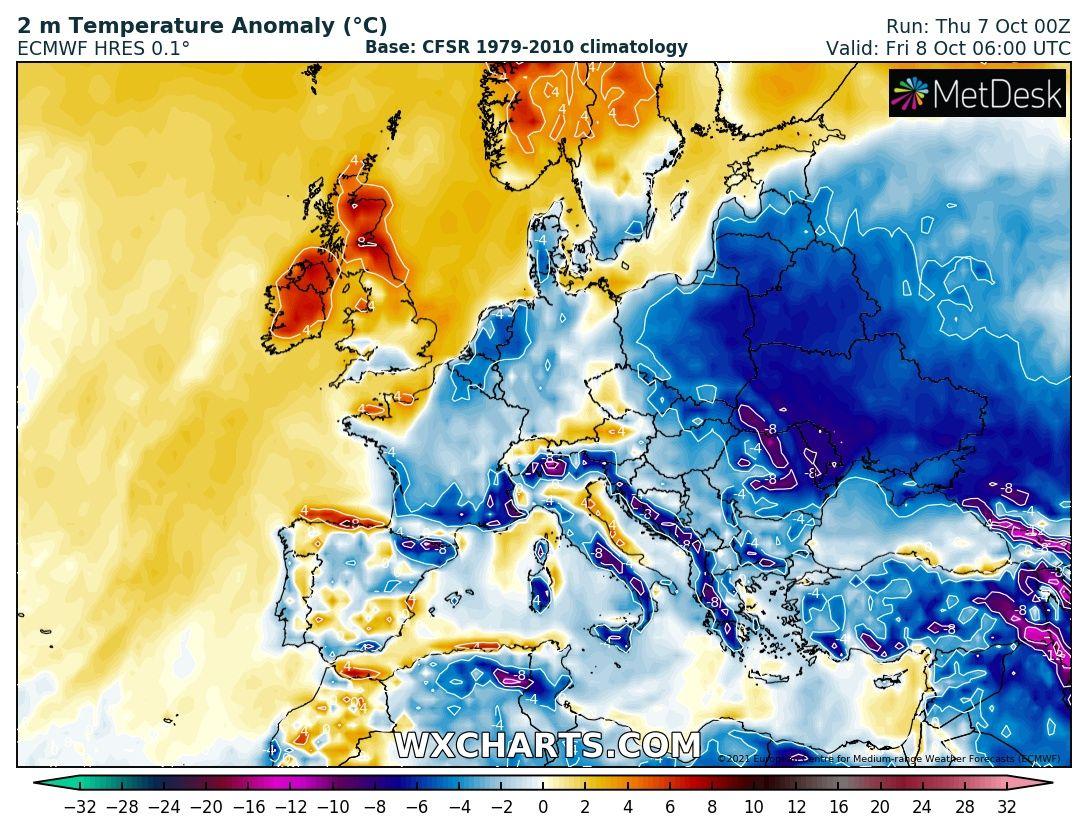 Przymrozki. Prognozowana anomalia temperatury (odchylenie od normy) w piątek 08.10 na godzinę 06:00UTC (http://wxcharts.com)