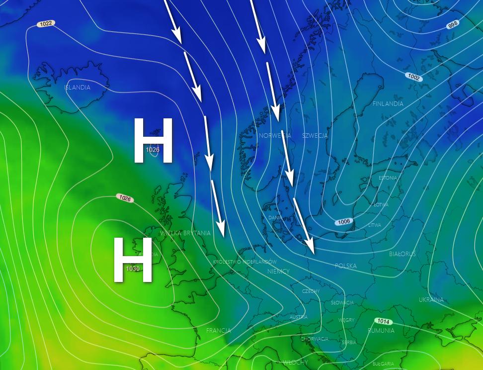 Pogoda. Spływ chłodnego powietrza po  wschodniej części wyżu i w obszarze zatok niżowych znad Skandynawii