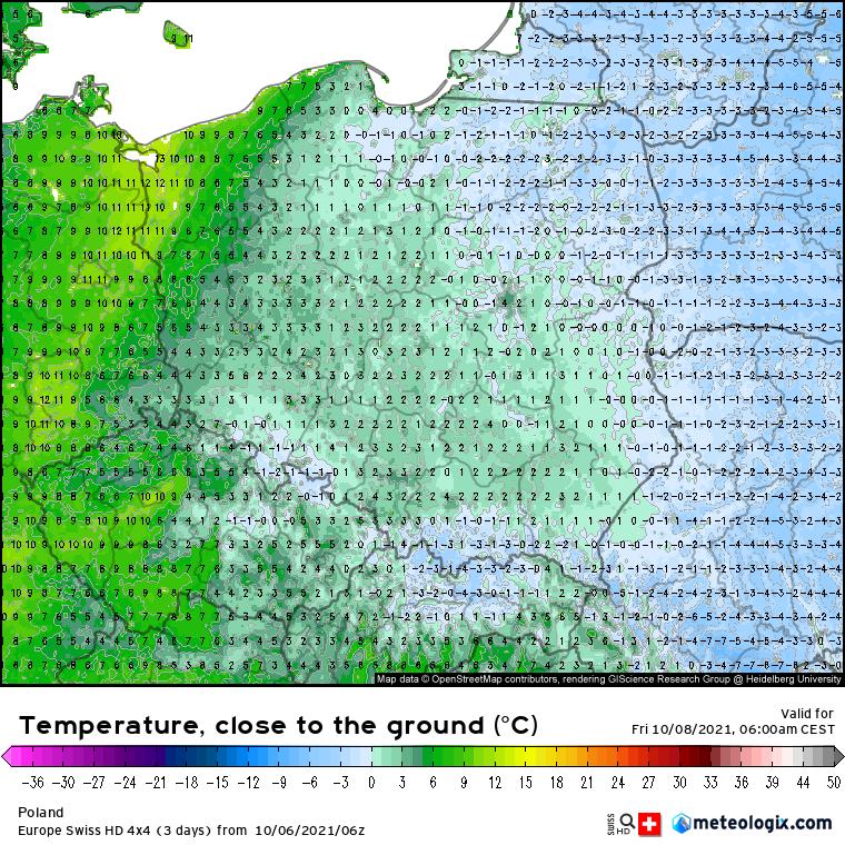 Pogoda. Prognoza temperatur powietrza na poziomie 5 cm powyżej linii gruntu - piątek godzina 06:00 (model SwissHD)