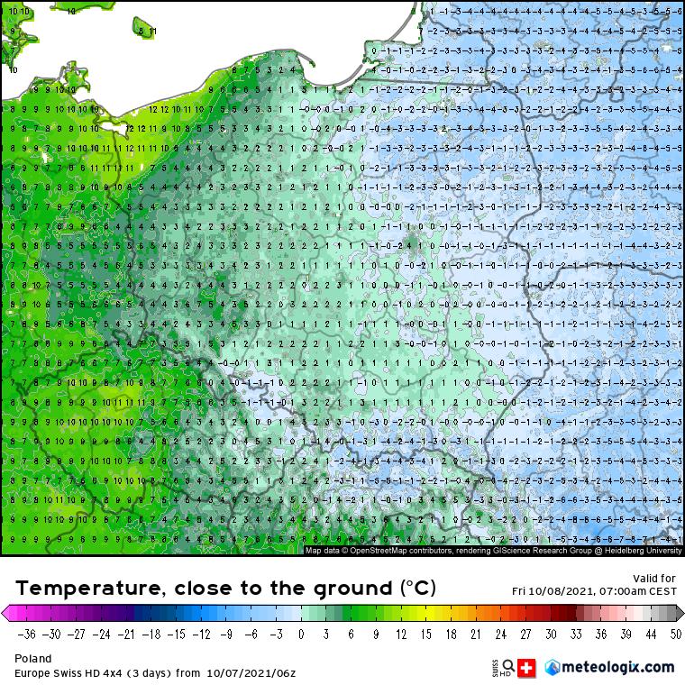 Przymrozki. Prognoza temperatur powietrza nad Polską przy linii gruntu (5 cm) w piątek 08.10 na godzinę 07:00