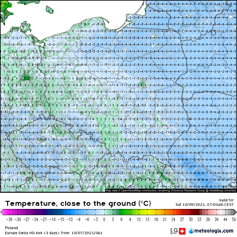 Przymrozki. Prognoza temperatur powietrza nad Polską przy linii gruntu (5 cm) w sobotę 08.10 na godzinę 07:00